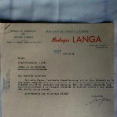 Cartas comerciales: CARTA COMERCIAL. JACA, HUESCA. NOVIEMBRE 1964. BODEGAS LANGA. ALMACEN DE VINOS Y LICORES.. Lote 30837130