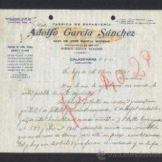 Cartas comerciales: MURCIA. CALASPARRA. *ADOLFO GARCÍA SÁNCHEZ. FÁBRICA DE ESPARTERÍA...* FECHADA 1947.. Lote 30962646