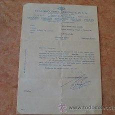 Cartas comerciales: CARTA DE CONSTRUCCIONES AERONAUTICAS SA,CASA,SEVILLA,AÑO 1979. Lote 31026670