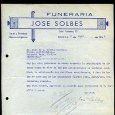 Cartas comerciales: ALICANTE. DENIA. *FUNERARÍA JOSÉ SOLBES* FECHADA 1946.. Lote 31119038