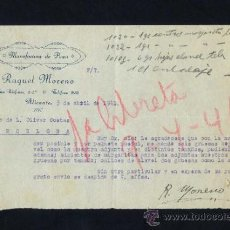 Cartas comerciales: ALICANTE. *MANUFACTURA DE FLORES. RAQUEL MORENO* FECHA 1941. . Lote 31121824