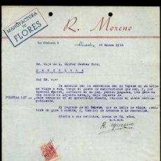 Cartas comerciales: ALICANTE. *MANUFACTURA DE FLORES. R. MORENO* FECHA 1944. . Lote 31121898