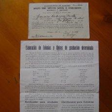Cartas comerciales: LOTE DE 2 DOCUMENTOS: IMPUESTO SOBRE INSPECCIÓN SANITARIA DE 1947 Y ELABORACIÓN DE COLONIAS Y QUINAS. Lote 31222054