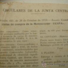 Cartas comerciales: CONDICIONES PARA COMPRAR UNA MOTO VESPA PRECIO Y MODELOS. Lote 31274265