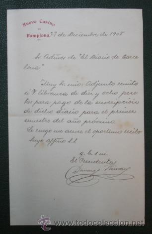 CARTA DEL NUEVO CASINO DE PAMPLONA ENVIADA A LA ADMINISTRACION DEL DIARIO DE BARCELONA. 1908. (Coleccionismo - Documentos - Cartas Comerciales)