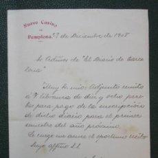 Cartas comerciais: CARTA DEL NUEVO CASINO DE PAMPLONA ENVIADA A LA ADMINISTRACION DEL DIARIO DE BARCELONA. 1908.. Lote 31281538