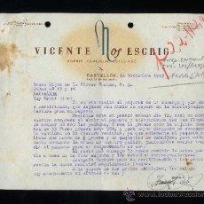 Cartas comerciales: CASTELLÓN. *VICENTE NOS ESCRIG* FECHADA 1949.. Lote 31423753