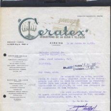 Cartas comerciales: VALENCIA. ALBAIDA. *CERATEX - INDUSTRIAS DE LA CERA Y TEJIDOS* FECHADA 1950.. Lote 31497680