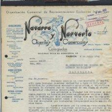 Cartas comerciales: VALENCIA. *NAVARRO Y NORVERTO. AGENTES COMERCIALES COLEGIADOS* FECHADA 1940.. Lote 31503009