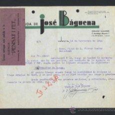 Cartas comerciales: VALENCIA. *VIUDA DE JOSÉ BÁGUENA* ETIQUETA RECADERO *AGENCIA PENSAT I FET* FECHADA 1944.. Lote 31511392
