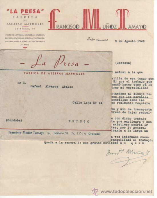 CARTA Y SOBRE COMERCIAL FÁBRICA DE MÁRMOLES LA PRESA DE FCO. MUÑOZ TAMAYO. LOJA ( GRANADA) 1949 (Coleccionismo - Documentos - Cartas Comerciales)