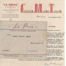 Cartas comerciales: CARTA Y SOBRE COMERCIAL FÁBRICA DE MÁRMOLES LA PRESA DE FCO. MUÑOZ TAMAYO. LOJA ( GRANADA) 1949 . Lote 31606500