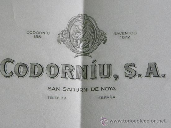 CARTA COMERCIAL CHAMPAGNE CODORNIU NAVIDAD 1968 (Coleccionismo - Documentos - Cartas Comerciales)