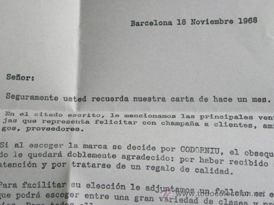 Cartas comerciales: Carta comercial champagne Codorniu Navidad 1968 - Foto 2 - 31579904