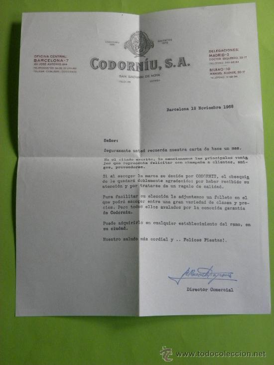 Cartas comerciales: Carta comercial champagne Codorniu Navidad 1968 - Foto 4 - 31579904