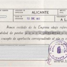 Cartas comerciales: RECIBO UNIÓN PROVINCIAL DE EMPRESARIOS DE LA PIEL (CREVILLENTE) ·· ALICANTE. Lote 31879379