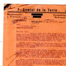 Cartas comerciales: CARTA COMERCIAL. NOVELDA. ALICANTE. F. GUMIEL DE LA TORRE. REPRESENTACIONES. 1930.. Lote 32471571