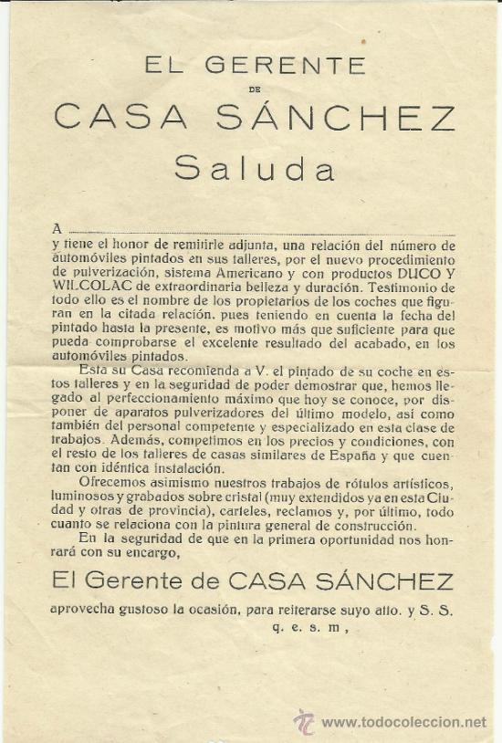 Cartas comerciales: ANTIGUA PUBLICIDAD DE CASA SANCHEZ -CARTAGENA - Foto 3 - 32603428