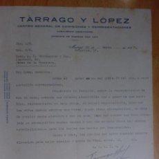 Cartas comerciales: CARTA COMERCIAL. MADRID. MARZO 1927. TARRAGO Y LOPEZ. CENTRO GERAL. DE COMISIONES Y REPRESENTACIONES. Lote 33000554