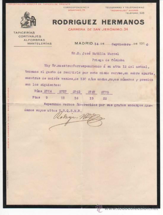 Bonito sobre comercial de rodr guez hnos tapice comprar cartas comerciales antiguas en - Tapiceros en madrid ...