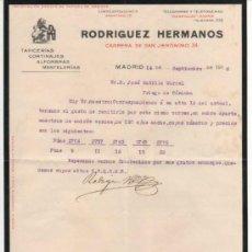 Cartas comerciales: BONITO SOBRE COMERCIAL DE RODRÍGUEZ HNOS TAPICEROS DE MADRID 1916. CONTIENE CARTA Y MUESTRA TEJIDO. Lote 33745658