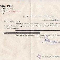 Cartas comerciales: GESTORIA POL LERIDA 1971. Lote 33589468