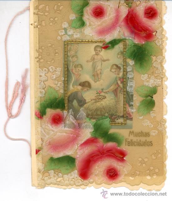 ANTIGUA TARJETA FELICITACIÓN RELIGIOSA. CARTA A SUS PADRES. EDUARDO. MANZANARES 1924 (Coleccionismo - Documentos - Cartas Comerciales)