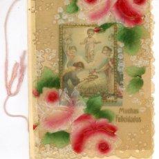Cartas comerciais: ANTIGUA TARJETA FELICITACIÓN RELIGIOSA. CARTA A SUS PADRES. EDUARDO. MANZANARES 1924. Lote 33490523