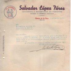 """Cartas comerciales: 3 CARTAS COMERCIALES SALVADOR LÓPEZ PÉRES """" LOS EXTREMEÑOS """". PIMENTÓN. CUACOS LA VERA, CÁCERES 1948. Lote 34092627"""