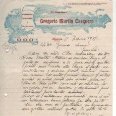 """Cartas comerciales: CARTA COMERCIAL GREGORIO MARTÍN CASQUERO """" EL CASTELLANO """": ACEITE OLIVA, SALCHICHERÍA. ALMARAZ 1935. Lote 34122447"""