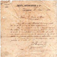Cartas comerciales: CARTA ENVIADA POR SEVIL HERMANOS Y Cª AL CONDE DE RIUS EN SCALA DEI, TARRAGONA 13 DE JULIO DE 1888. Lote 33985866