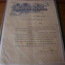 Cartas comerciales: CARTA COMERCIAL DATADA 18 MARZO 1.913 DEL HOTEL SIMÓN DE SEVILLA. SUCURS. CORDOBA, ALMERIA Y MALAGA . Lote 34228361