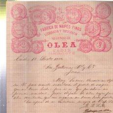 Cartas comerciales: CARTA COMERCIAL FÁBRICA DE NAIPES FINOS, LIT Y TIP SEGUNDO DE OLEA, CÁDIZ 1882. Lote 34438001