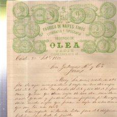 Cartas comerciales: CARTA COMERCIAL FÁBRICA DE NAIPES FINOS, LIT Y TIP SEGUNDO DE OLEA, CÁDIZ 1882. Lote 34438017