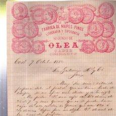 Cartas comerciales: CARTA COMERCIAL FÁBRICA DE NAIPES FINOS, LIT Y TIP SEGUNDO DE OLEA, CÁDIZ 1882. Lote 34438029