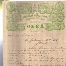 Cartas comerciales: CARTA COMERCIAL FÁBRICA DE NAIPES FINOS, LIT Y TIP SEGUNDO DE OLEA, CÁDIZ 1882. Lote 34438042