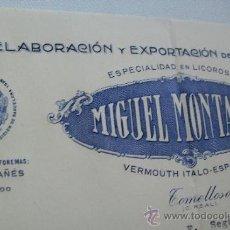 Cartas comerciales: MIGUEL MONTAÑES, ELABORACIÓN Y EXPORTACIÓN DE VINOS FINOS- TOMELLOSO - 1940. Lote 34873386
