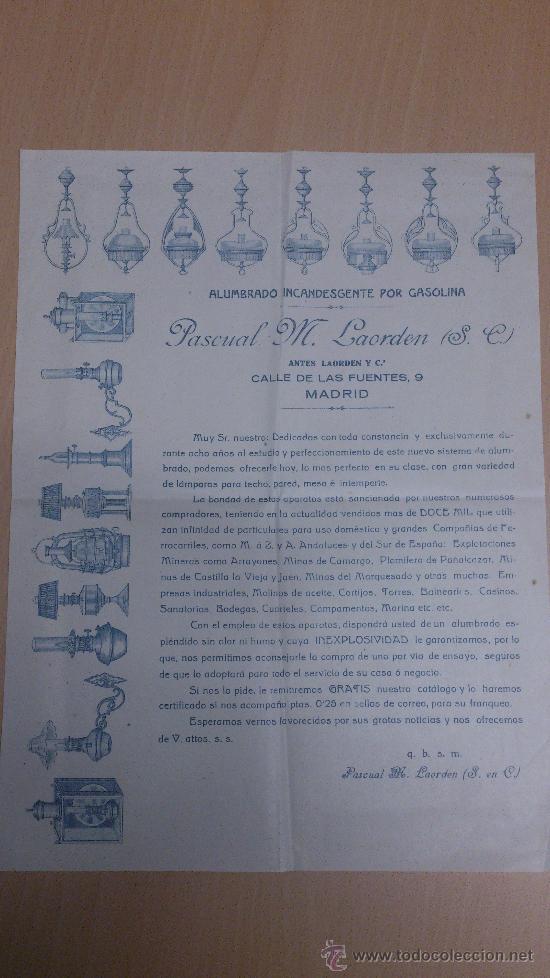 CARTA COMERCIAL ALUMBRADO INCANDESCENTE POR GASOLINA QUINQUES FAROLES PASCUAL M. LAORDEN MADRID (Coleccionismo - Documentos - Cartas Comerciales)