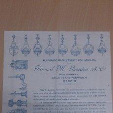 Cartas comerciales: CARTA COMERCIAL ALUMBRADO INCANDESCENTE POR GASOLINA QUINQUES FAROLES PASCUAL M. LAORDEN MADRID. Lote 35430213