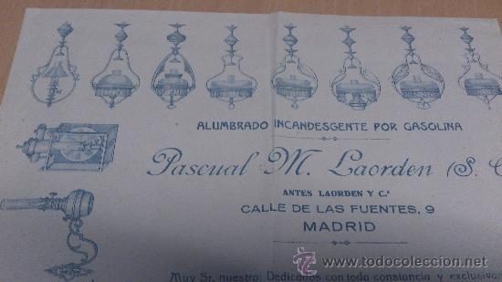 Cartas comerciales: CARTA COMERCIAL ALUMBRADO INCANDESCENTE POR GASOLINA QUINQUES FAROLES PASCUAL M. LAORDEN MADRID - Foto 2 - 35430213