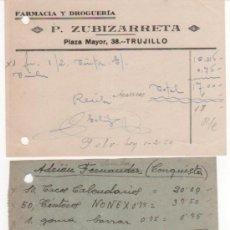 Cartas comerciales: LOTE DE 8 CARTAS Y DOCUMENTOS COMERCIALES DE TRUJILO ( CÁCERES ). 1940 - 59. CURIOSO Y SURTIDO. Lote 35651210