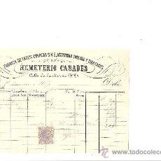 Cartas comerciales: BARCELONA-HEMETERIO CASADES-FABRICA DE TACOS CORREAS SIN ELASTICIDAD TIRETAS Y TIRATACOS-AÑO 1883. Lote 36102476