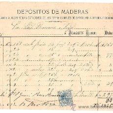 Cartas comerciales: BARCELONA-JOAQUIN GURRI-DEPOSITOS DE MADERA-AÑO 1886-ANCHO 20,50 CM- ALTO 15 CM. Lote 36102645