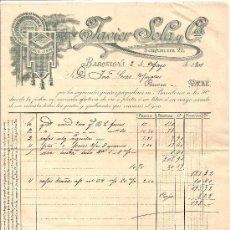 Cartas comerciales: BARCELONA-JAVIER SOLA Y CIA-HILOS DE LINO, SEDAS Y LANAS-AÑO 1901-21 CM-ALTO27,50 CM. Lote 36102724