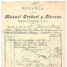 Cartas comerciales: BARCELONA-MANUEL CREHUET Y LLORENS-NOTARIA-AÑO 1907-ANCHO 15,50 CM-ALTO 22 CM. Lote 36174892