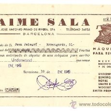 Cartas comerciales: BARCELONA-JAIME SALA-MAQUINAS PARA ESCRIBIR- AÑO 1945-ANCHO 21 CM-ALTO 14 CM. Lote 36175024