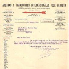 Cartas comerciales: IRUN (GUIPUZCUA)-ADUANAS Y TRANSPORTES INTERNACIONALES JOSE HERRERO-AÑO 1931. Lote 36175287
