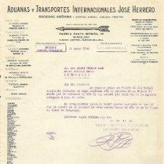 Cartas comerciales: BARCELONA-ADUANAS Y TRANSPORTES INTERNACIONALES JOSE HERRERO-AÑO 1926-ANCHO 21,50 CM-ALTO 27,50 CM. Lote 36175575