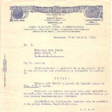 Cartas comerciales: BARCELONA-INDUSTRIA CASANOVAS-FRABRICA DE BOTONES Y PEINES-MATERIAS PLASTICAS -AÑO 1943. Lote 36175667