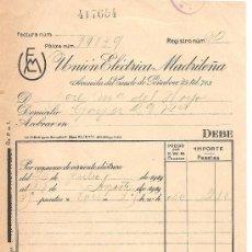 Cartas comerciales: MADRID-UNION ELECTRICA MADRILEÑA-AÑO 1919-ANCHO 15,50 CM-ALTO 23,50 CM. Lote 36234707